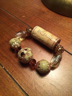Gold and Off White Wine Cork Bracelet by BohoPrincessBoutique