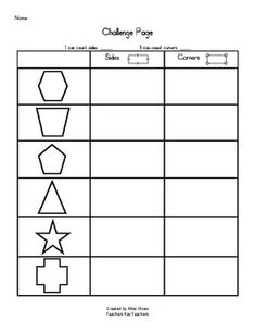 Here's a page for students to focus on counting sides and corners (edges and vertices) of 2D shapes.