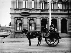Three passengers in a buggy in front of Northcote Town Hall and Post & Telegraph Office, High Street Northcote ~ 1900 Melbourne Suburbs, Melbourne Street, Melbourne Victoria, Town Hall, Historic Homes, Back In The Day, Historical Photos, Old Photos, City Photo