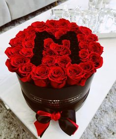 """Mother's Day Special Edition - Black Premium Box 10"""" diameter - Red Roses with black Letter M Beautiful Bouquet Of Flowers, Diy Flowers, Beautiful Flowers, The Million Roses, Name Design Art, Cool Pictures For Wallpaper, Red Centerpieces, Monster Crafts, Flower Words"""