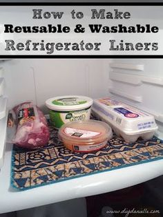 How to Make Washable Mats for Fridge Shelves - DIY Danielle - - How to make fridge shelf mats. These washable liners are great to make cleaning the refrigerator fast and easy. All you need is fabric and scissors! Sewing Hacks, Sewing Tutorials, Sewing Crafts, Sewing Ideas, Sewing Patterns, Sewing Tips, Sewing Stitches, Sewing Basics, Fabric Crafts