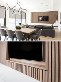 This modern living room features a wood slat accent wall that surrounds the TV and provides a row of white storage cabinets. Living Room Storage, Living Room Tv, Living Room Modern, Living Room Interior, Living Room Furniture, Living Room Designs, Small Living, Wall Cabinets Living Room, Tv On Wall Ideas Living Room