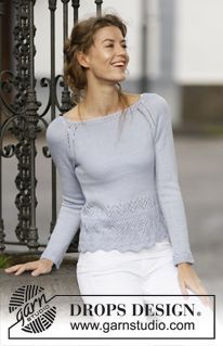 """Knitted DROPS jumper in """"BabyAlpaca Silk"""" with raglan sleeves and lace pattern. ~ DROPS design Source by sjenius Drops Design, Baby Alpaca, Summer Knitting, Free Knitting, Magazine Drops, Lace Knitting Patterns, Jumpers For Women, Knit Crochet, Free Pattern"""