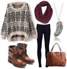 Outfit for school / tenue d'ecole/college/lycee ( pull beige/noir ~ legging noir ~ bottines et sac caramel ~ écharpe tube bordeau ~ collier argentés )