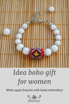 Idea boho gift for women, white agate bracelet with hand embroidery, embroidered bead white red bracelet Christmas gifts for sister gift for wife