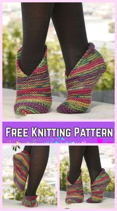 Easy Knit Garter Stitch Splash Slippers Free Knitting Pattern for Ladies