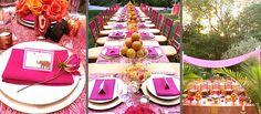 Jaithan Kochar's beautifiul pink and orange birthday Dovecote Decor 35th Birthday, Birthday Celebration, Pink Table Decorations, Indian Cafe, Orange Table, Garden Birthday, Christmas Entertaining, Beautiful Table Settings, Dinner Themes