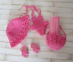 Ensemble maillot de bain rose au crochet pour poupée mini corolline : Jeux, jouets par atelier-crochet