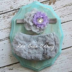 READY TO SHIP Grey Gray Baby Bloomers Lavender by LolaBeanClothing