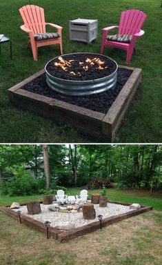 DIY fire pit designs ideas - Do you want to know how to build a DIY outdoor fire pit plans to warm your autumn and make s'mores? Find inspiring design ideas in this article. Diy Fire Pit, Fire Pit Backyard, Backyard Patio, Gravel Patio, Deck With Fire Pit, Outdoor Fire Pits, In Ground Fire Pit, Desert Backyard, Backyard Fireplace