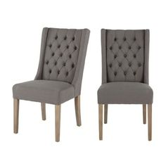 Set of Two Tufted Grey Linen Dining Chairs by World Interiors