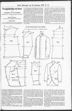 1876 mannen overhemd & jas patroon  in Modetijdschrift De Gracieuse