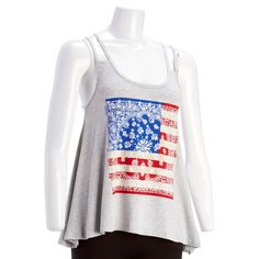 Show off your patriotism in this graphic tank. Racerback, shoulder straps, and a sharkbite hem give this tank its style. Wear this top with shorts or jeans for a fun, casual look.