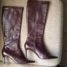 "Selling this ""LAUREN RALPH LAUREN BROWN LEATHER CROC BOOTS sz 9"" in my Poshmark closet! My username is: backbend31. #shopmycloset #poshmark #fashion #shopping #style #forsale #Ralph Lauren #Boots"