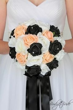 Custom Made Wedding flowers to match Davids Bridal colors. Design the perfect brides bouquet for yourself, your groom and your bridesmaids! Fall Wedding Flowers, Flower Bouquet Wedding, Flower Bouquets, Summer Wedding, Bridesmaid Flowers, Bride Bouquets, Davids Bridal Gowns, Perfect Bride, Black Peach