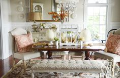 Fall-Dining Room-burnt coral pillows-stonegableblog.com
