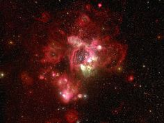 LHA 120-N 44 : Emission Nebula - Located in the Large Magellanic Cloud some 157,000 light-years away, N 44 (for short), has a superbubble which surrounds NGC 1929, a rich cluster of bright young, blue-white stars. A smaller superbubble in N 44 (N44F) has a central star with stellar winds with speeds of 4.34 million mph (7 million km/ph)