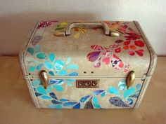 One of a kind Vintage Train Case Luggage (handcut...