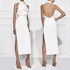 Joy Hysteric: All white everything. This two piece set (sold. Elegant Dresses, White Fashion, I Dress, Dress To Impress, Beautiful Outfits, Ideias Fashion, Evening Dresses, Short Dresses, Fashion Dresses