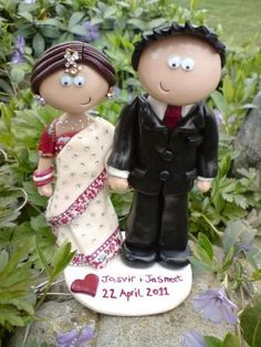 Handmade, personlised Indian wedding cake topper, I make them look like you in any outfits/poses and ship world wide www.googlygifts.co.uk