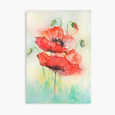 Easy Flower Painting, Acrylic Painting Flowers, Daisy Painting, Flower Art, Flower Painting Images, Garden Painting, Watercolor Poppies, Watercolor Illustration, Poppies Art