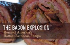 Dessertpin - Bacon Explosion BBQ Sausage Recipe of all Recipes Bbq Sausage Recipe, Bacon Sausage, Bbq Bacon, Sausage Recipes, Pork Recipes, Barbecued Sausages, Bacon Roll, Bacon Weave, Bacon Explosion