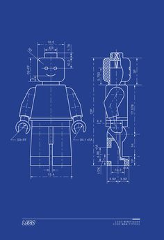 LEGO MAN Art Print Typical Lego Minifigure Technical Drawing 13x19. $23.00, via Etsy.