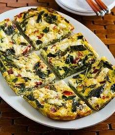 Kale Red Pepper Feta Frittata –Make this healthy recipe the night before and wake up to your house smelling garden-y fresh. Get the recipe from Kalyn's Kitchen.