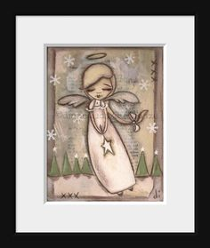 Items similar to Print of my original folk art Christmas painting - A Star for Every Tree on Etsy Paint Cards, Angels Among Us, Great Paintings, Christmas Paintings, Whimsical Art, Cute Art, Folk Art, Needlework, Arts And Crafts