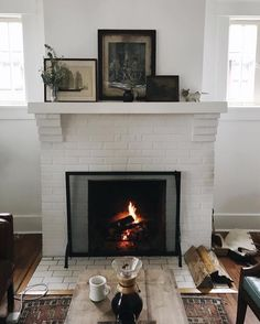 cozy fireplace scene. chemed coffee, vintage art.