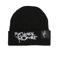 My Chemical Romance Black Parade Watchman Beanie | Hot Topic ($17) ❤ liked on Polyvore featuring accessories, hats, black beanie hat, black knit beanie, black hat, beanie hats and knit beanie