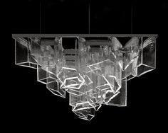 daniel libeskind lasvit ice chandelier clear glass cells blown into angular molds space. Black Bedroom Furniture Sets. Home Design Ideas