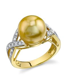 Golden Pearl & Diamond Infinity Ring - The Pearl Source