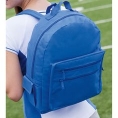 "Backpack on a Budget. 600 denier polyester, 50% recycled. Top carry handle and adjustable padded back straps; main compartment with double zipper; gusseted front pocket with zippered sleeve pocket; two side pockets with quick close feature; color-matched straps, webbing and hardware. 13""W x 16""H x 6""D. Blank."