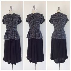 Beautiful blouse and skirt set from the 40s. Black and white stripe rayon blouse with cute cap sleeves, button up front, ruffled peplum and bow tie neckline. Matching skirt is black and made out of crepe. Side metal zip with slight a-line cut. Cute together or paired separately!  | c o n d i t i o n |  good - a couple of small pinholes and colorbleed by the armpits. skirt has some sheen in parts. nothing super noticeable but worth noting. priced accordingly.  | m e a s u r e m e n t s…