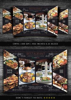 Buy Restaurant Flyer Template by Yoopiart on GraphicRiver. File features: 1 PSD Files Included Smart Object inches with bleeds) CMYK Restaurant Flyer, Restaurant Menu Design, Brochure Food, Brochure Design, Flyer Design, Pizza Flyer, Food Menu Design, Chicago Restaurants, Flyer Template
