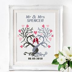 Wedding cross stitch pattern Mr and Mrs Personalized Wedding Heart cross stitch chart Love cross stitch couple Counted cross stitch scheme Cross Stitch Tree, Cross Stitch Heart, Simple Cross Stitch, Wedding Cross Stitch Patterns, Modern Cross Stitch Patterns, Cross Stitch Designs, Wedding Gifts For Couples, Le Point, Cross Stitching