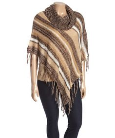 Another great find on #zulily! Brown & Tan Stripe Fringe Poncho - Plus #zulilyfinds
