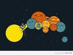 Poor Pluto..>>>>>and the sun he can't be in the family picture either and he pretty much made the entire solar system possible is<<<<<