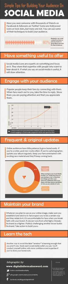 Simple Tips For Building Your Audience On Social Media[INFOGRAPHIC] #socialmedia #marketing