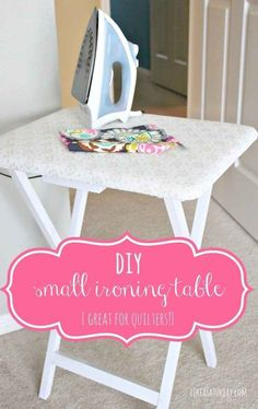Turn an old card tray into an ironing table.