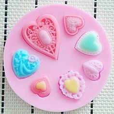 qinxi Heart Shaped Fondant Cake Chocolate Resin Clay Candy Silicone Mold Mat,L7.3cm*W7.3cm*H0.9cm >> Don't get left behind, see this great  product : Candy Making Supplies
