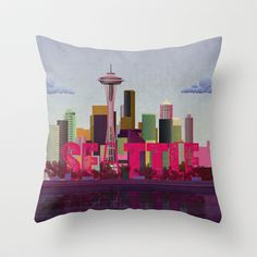 Seattle Throw Pillow by WyattDesign - $20.00