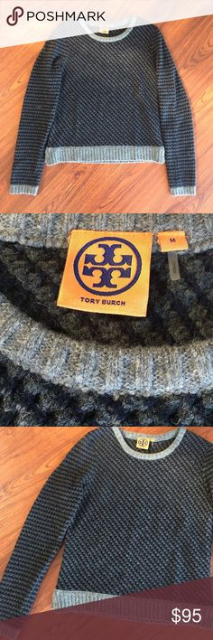 "Super Cute Tory Burch Sweater Cute and cozy Tory Burch sweater. Super cute knit navy and grey patterning. In perfect condition, only worn once. Great, casual look!  Runs a little small, could work for a small or small/medium!  21.5"" long, slightly cropped, hits at the top of the hips  57% Wool, 31% Camel Hair, 12% Nylon Tory Burch Sweaters Crew & Scoop Necks"