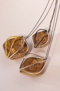 Olive Wood and Silver Necklace - Imprisoned Woman Jewelry Collection, Woman, Silver