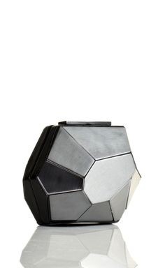 Geometric Fashion - clutch purse with 3D faceted structure & brushed chrome finish; bags of style // Herve Leger