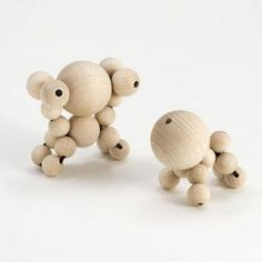 wooden baby animals - wooden beads