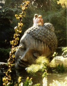Buddha Head- Len Ricci sculpture, This looks exactly like the one in the newer version of A Little Princess! Into The Wild, Space Ghost, A Little Princess 1995, Oh The Places You'll Go, Places To Travel, Little Buddha, Buddha Head, Giant Buddha, Buddha Art