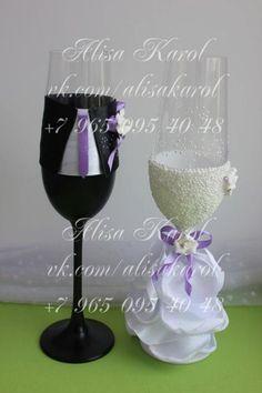 Wedding glasses in bride and groom costumes wedding by AlisaKarol, $75.00