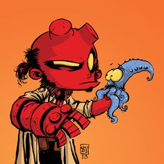Little Hellboy for Heroes Con kids under 12 badge by Skottie Young
